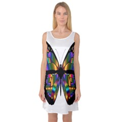 Abstract Animal Art Butterfly Sleeveless Satin Nightdress