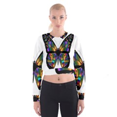 Abstract Animal Art Butterfly Women s Cropped Sweatshirt
