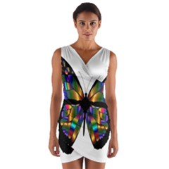 Abstract Animal Art Butterfly Wrap Front Bodycon Dress
