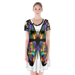 Abstract Animal Art Butterfly Short Sleeve V-neck Flare Dress