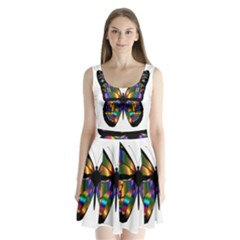Abstract Animal Art Butterfly Split Back Mini Dress