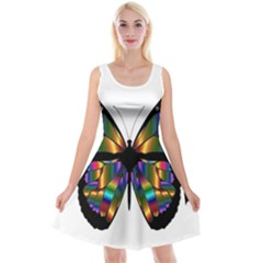 Abstract Animal Art Butterfly Reversible Velvet Sleeveless Dress