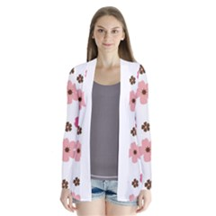 Pink and Brown Flowers Floral Pattern Drape Collar Cardigan