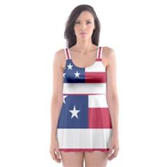 American Flag Skater Dress Swimsuit