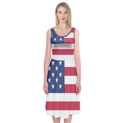 American Flag Midi Sleeveless Dress