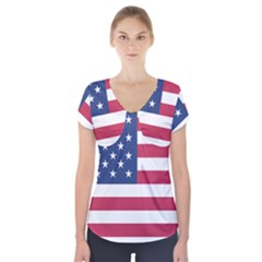 American Flag Short Sleeve Front Detail Top