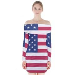 American Flag Long Sleeve Off Shoulder Dress