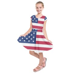 American Flag Kids  Short Sleeve Dress