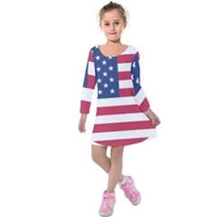 American Flag Kids  Long Sleeve Velvet Dress