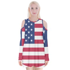 American Flag Velvet Long Sleeve Shoulder Cutout Dress