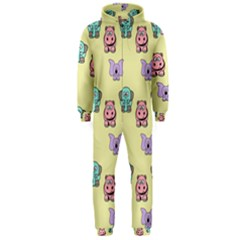 Animals Pastel Children Colorful Hooded Jumpsuit (Men)