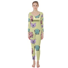 Animals Pastel Children Colorful Long Sleeve Catsuit
