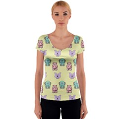 Animals Pastel Children Colorful Women s V-Neck Cap Sleeve Top