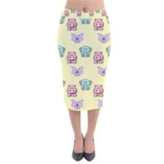 Animals Pastel Children Colorful Velvet Midi Pencil Skirt