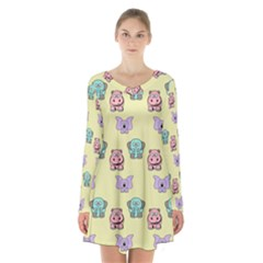 Animals Pastel Children Colorful Long Sleeve Velvet V Neck Dress