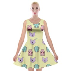 Animals Pastel Children Colorful Velvet Skater Dress