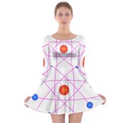 Atom Model Vector Clipart Long Sleeve Skater Dress