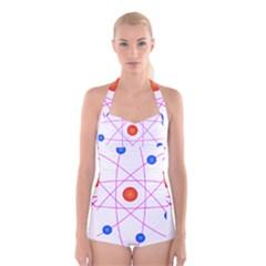 Atom Model Vector Clipart Boyleg Halter Swimsuit