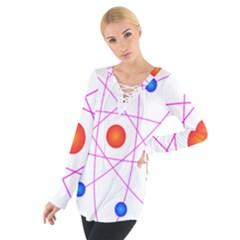 Atom Model Vector Clipart Women s Tie Up Tee