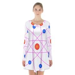 Atom Model Vector Clipart Long Sleeve Velvet V Neck Dress