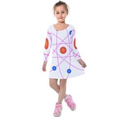 Atom Model Vector Clipart Kids  Long Sleeve Velvet Dress