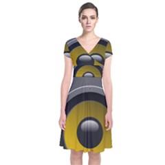 Audio Loadspeaker Activ Short Sleeve Front Wrap Dress