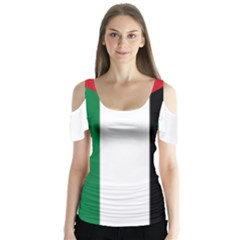 Palestine flag Butterfly Sleeve Cutout Tee