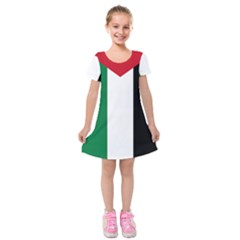 Palestine Flag Kids  Short Sleeve Velvet Dress
