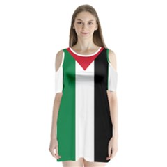 Palestine Flag Shoulder Cutout Velvet  One Piece