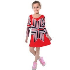 Backdrop Background Pattern Kids  Long Sleeve Velvet Dress