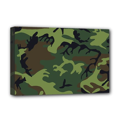 Camouflage Green Brown Black Deluxe Canvas 18  x 12