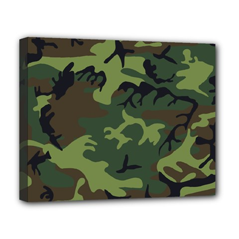 Camouflage Green Brown Black Deluxe Canvas 20  x 16