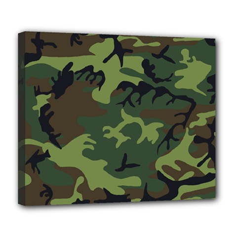 Camouflage Green Brown Black Deluxe Canvas 24  x 20