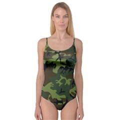 Camouflage Green Brown Black Camisole Leotard