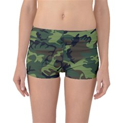 Camouflage Green Brown Black Boyleg Bikini Bottoms