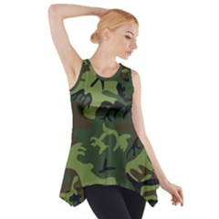 Camouflage Green Brown Black Side Drop Tank Tunic