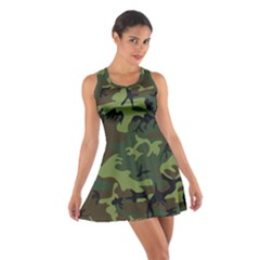 Camouflage Green Brown Black Cotton Racerback Dress