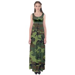 Camouflage Green Brown Black Empire Waist Maxi Dress