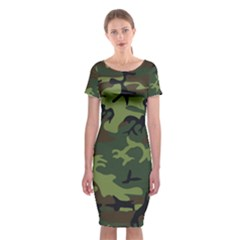 Camouflage Green Brown Black Classic Short Sleeve Midi Dress
