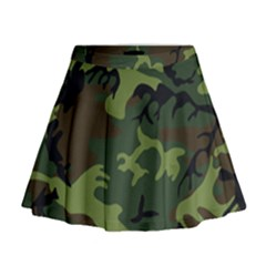Camouflage Green Brown Black Mini Flare Skirt