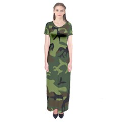 Camouflage Green Brown Black Short Sleeve Maxi Dress