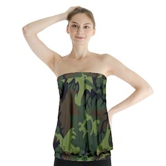 Camouflage Green Brown Black Strapless Top