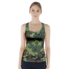 Camouflage Green Brown Black Racer Back Sports Top