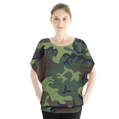 Camouflage Green Brown Black Blouse