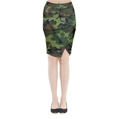 Camouflage Green Brown Black Midi Wrap Pencil Skirt