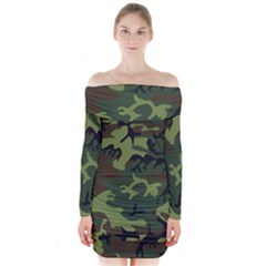 Camouflage Green Brown Black Long Sleeve Off Shoulder Dress