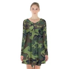 Camouflage Green Brown Black Long Sleeve Velvet V Neck Dress