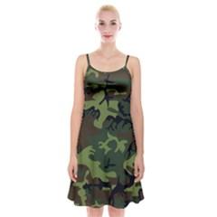 Camouflage Green Brown Black Spaghetti Strap Velvet Dress