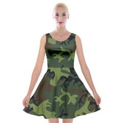 Camouflage Green Brown Black Velvet Skater Dress