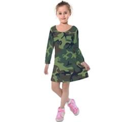 Camouflage Green Brown Black Kids  Long Sleeve Velvet Dress